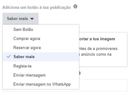 possibilidade de botões ao clicar em promover publicação no facebook