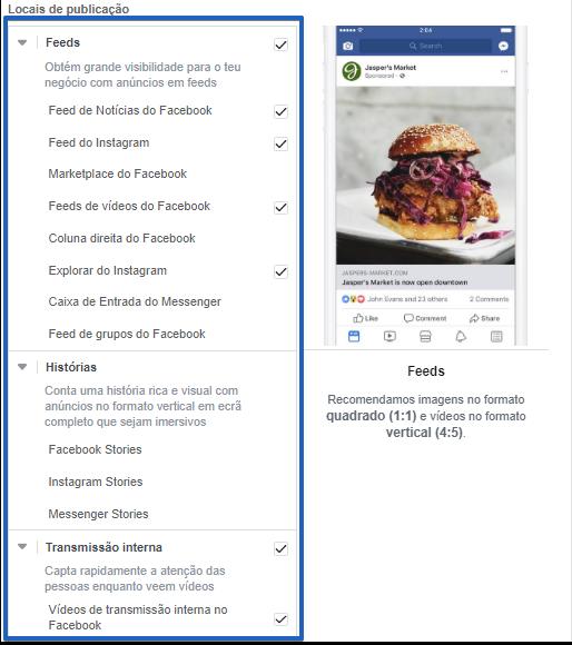 Alguns dos posicionamentos possíveis de serem escolhidos dentro do gestor de anúncios do facebook