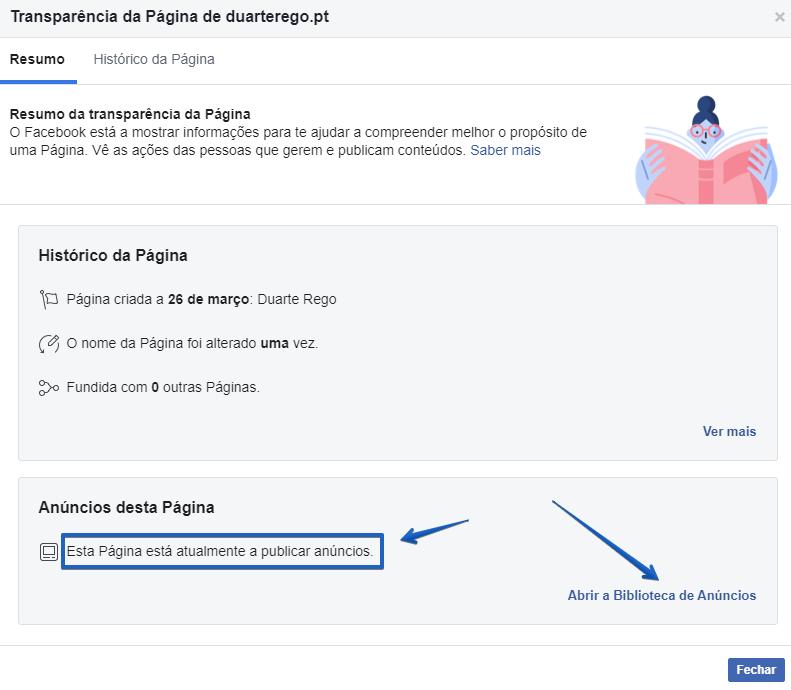 separador transparência da página de facebook