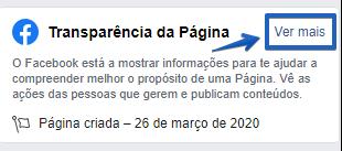 separador transparência da página do Facebook